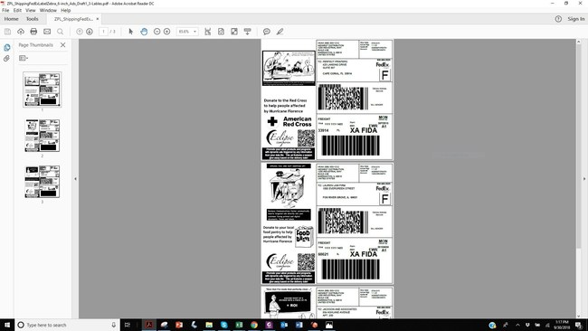 DocOrigin ZPL Viewer allows the person designing and testing labels to preview them in a PDF viewer, as shown here with labels 1 and 2 of 3. This adds convenience and reduces the cost of label development and testing.