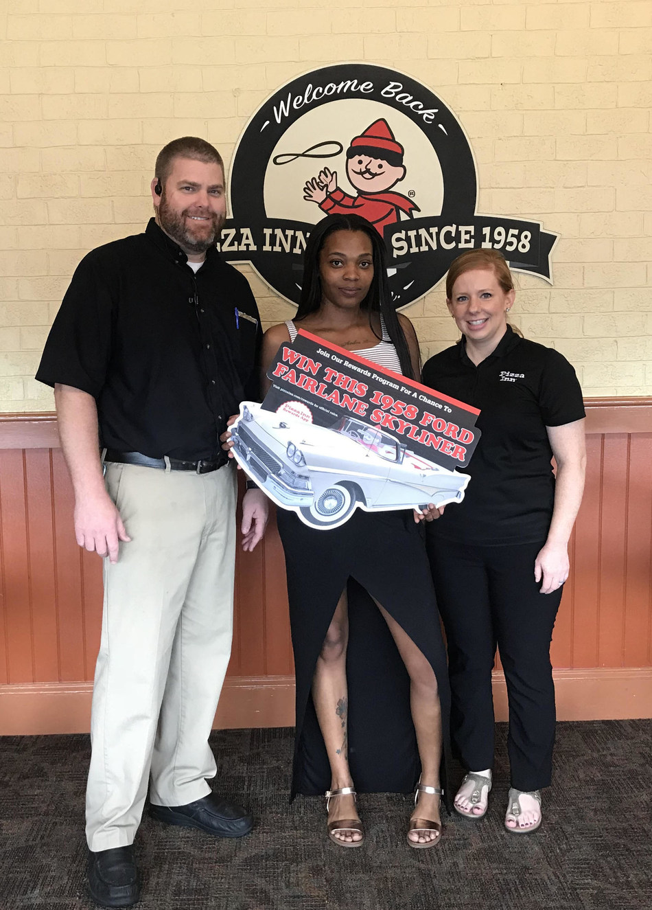 Brittany of Wilson, N.C. was the lucky winner of Pizza Inn's 60th Anniversary car tour sweepstakes. Pizza Inn started in 1958 when two Texas brothers opened the first Pizza Inn in Dallas.