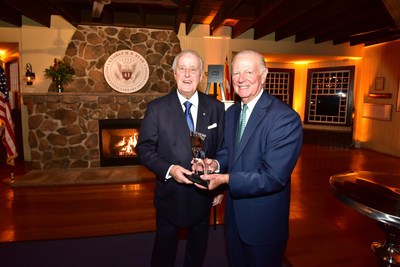 Former Canadian Prime Minister Brian Mulroney, left, receives the 2018 George Bush Award after an introduction provided by former U.S. Secretary of State James A. Baker, III.