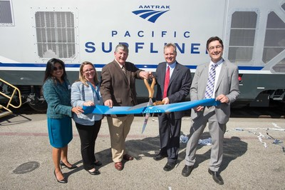 Ribbon cutting ceremony in honor of new Charger locomotives with (left) Shirley Choate, Interim District Director Caltrans District 7; Jennifer L. Bergener, Managing Director LOSSAN Rail Corridor Agency; Tony Kranz, Board Member LOSSAN Rail Corridor Agency; Brian C. Annis, Secretary of California State Transportation Agency; Armin Kick, Vice President, Locomotives and High-Speed Trainsets, Siemens.