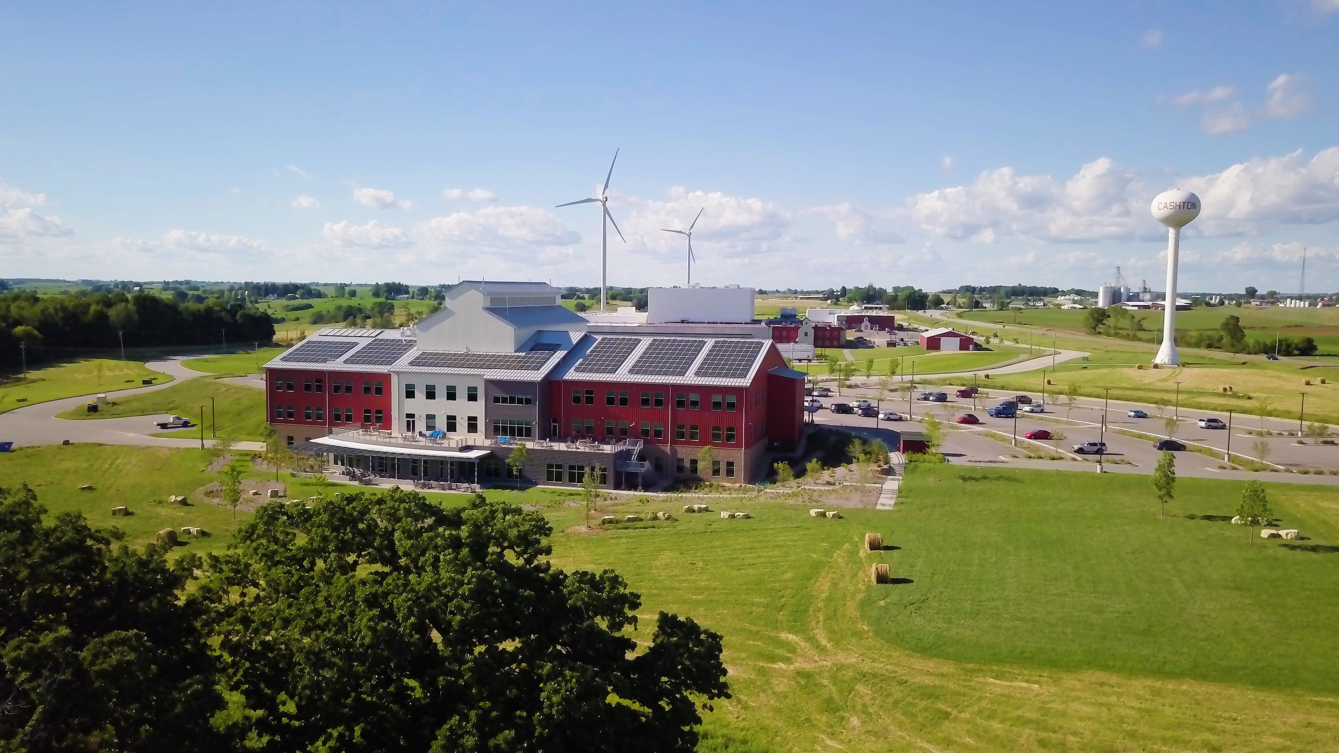 Solar Panels and Wind Turbines at Organic Valley's Cashton Office Building