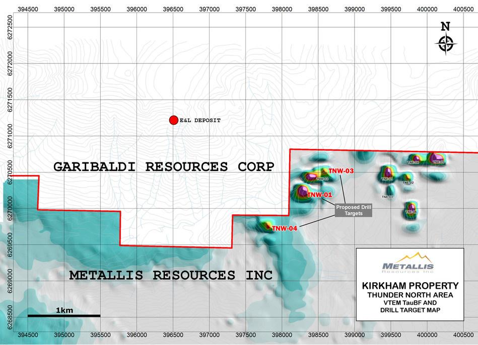 Metallis Resources Inc Kirkham Property  Thunder North Area  VTEM TauBF and Drill Target Map (CNW Group/Metallis Resources Inc.)