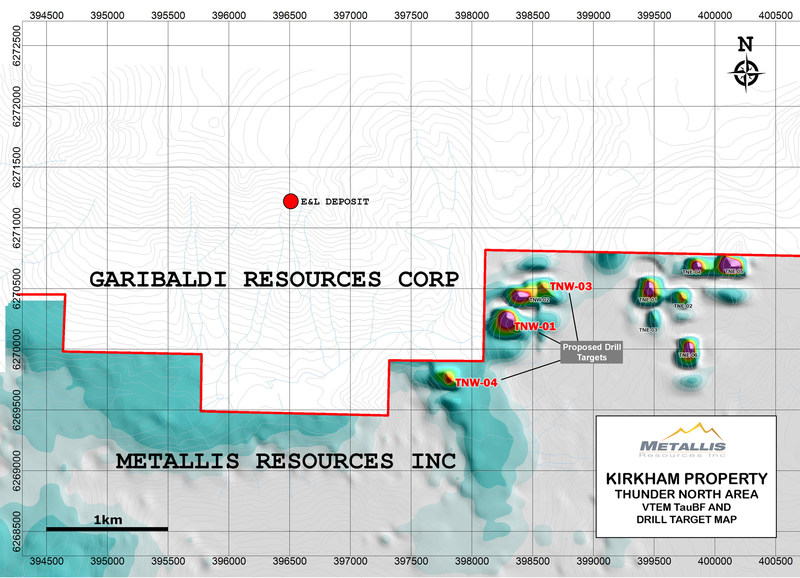 Metallis Resources Inc Kirkham Property  Thunder North Area  VTEM TauBF and Drill Target Map (CNW Group/Metallis Resources Inc.)