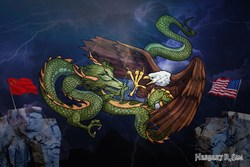 Illustration by Herbert R. Sim, depicting the epic battle between two giants, the Great Chinese Dragon and the Great American Eagle; featuring the flags of the two global superpowers China and United States of America.