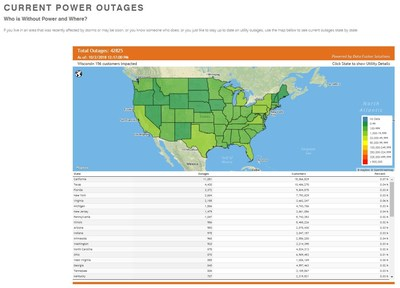 "Generac's Power Outage Central website (www.generac.com/poweroutagecentral) lets consumers see where power outages are occurring and how severe they are. ""Power Outage Central is the definitive source for U.S. power outage data, and we're confident it will help consumers be better prepared for outages in the future,"" said Russ Minick, chief marketing officer, Generac."