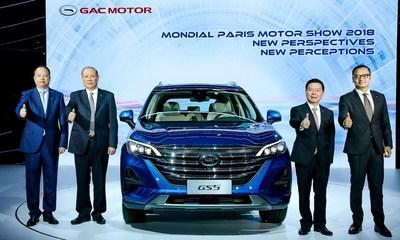 Zeng Qinghong, presidente do GAC Group; Zhang Qingsong, vice-presidente do GAC Group; Yu Jun, presidente da GAC Motor; e Zhang Fan, vice-presidente do Centro de Pesquisa e Desenvolvimento da GAC, na entrevista coletiva com o novíssimo SUV GS5 da GAC Motor (PRNewsfoto/GAC Motor)