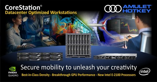 Three powerful data center optimized workstations enable secure mobility to reinvent workflows and unleash creativity. A unique blade workstation combines NVIDIA Quadro GPUs with Dell EMC PowerEdge FC640 to handle evolving workloads with the efficiency of blades and the cost benefits of rack-based systems. New GPUs based on NVIDIA Quadro P5000 GPU deliver break-through performance. The CoreStation WR3930 based on the Dell Precision 3930 is the world's fastest workstation. (CNW Group/Amulet Hotkey Ltd.)
