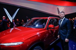 David Beckham joined new Vietnamese car brand, VinFast, at the Paris Motor Show for the official unveiling of its first two cars.