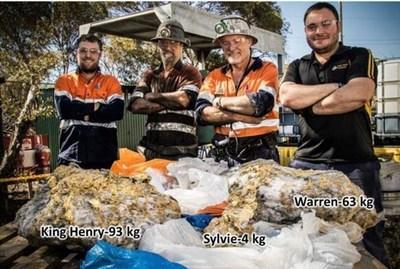 Fig. 5: Beta Hunt Team with King Henry(93kg), Warren(63kg) and Sylvie (4kg) gold specimen stones (Credit: ABC Goldfields-Esperance: Jarrod Lucas) (CNW Group/RNC Minerals)