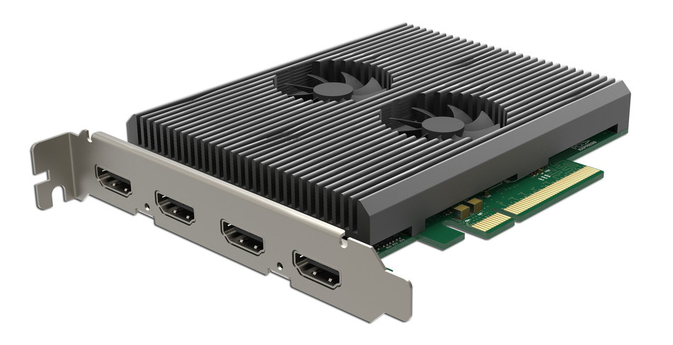 Magewell's Pro Capture Dual HDMI 4K Plus LT card captures two Ultra HD video signals simultaneously while simplifying workflows with loop-through connectivity.