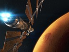 CGI depicts a spacecraft transporting humans to the Red Planet. The IMAX film Journey To Space opens at the Ontario Science Centre on October 6, 2018. (CNW Group/Ontario Science Centre)