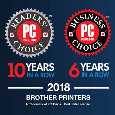 Brother recognized with 10th consecutive PCMag Readers' Choice Award for best printers and sixth consecutive Business Choice Award as the best office printer manufacturer.