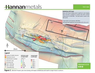 Figure 1 Kilbricken Prospect, plan view showing drill targets at Ballyhickey with depth to target shown in countours. (CNW Group/Hannan Metals Ltd.)