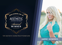 "Congratulations to Jamie M. Howder, FNP-BC on her ""Top Aesthetic Nurse Practitioner"" win for the second straight year in the 2018 Aesthetic Everything(R) Awards Aesthetic and Cosmetic Medicine Awards!"
