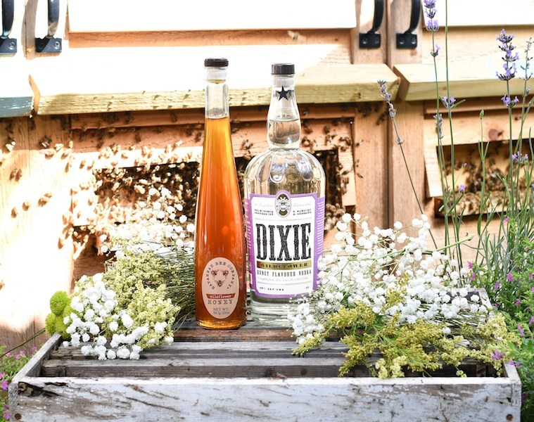 Dixie's newest product uses SBC's Georgia Wildflower Honey infused in Dixie's award-winning Dixie Southern Vodka, 6x distilled from non-GMO corn. The result is a delicious flavored vodka with a hint of sweetness, perfect on its own or in a variety of classic cocktails. (PRNewsfoto/Dixie Vodka)