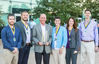 (From left) Nathan Worcester, Adam Flowers, Alan Bradshaw, Alison Kaufmann, Annette Martin and Andy Thomas win the Chairman's Excellence Award for their mobile app solution that directly helps customers.