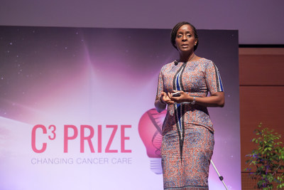 Ebele Mbanugo presents her idea at the Astellas Oncology C3® Live Pitch that took place at the UICC World Cancer Congress in Kuala Lumpur, Malaysia on October 3.