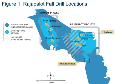 Figure 1: Rajapalot Fall Drill Locations (CNW Group/Mawson Resources Ltd.)