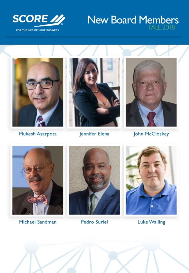 SCORE, the nation's largest network of volunteer, expert business mentors, is pleased to announce the appointment of six new members to its board of directors, which helps guide the organization in its mission to foster vibrant small business communities through mentoring and education.