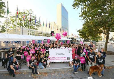 On World Animal Day, dog activists and their owners eagerly joined the global movement to end animal testing in cosmetics organized by The Body Shop and Cruelty Free International. The dogs and their owners took more than 8 million signatures to the United Nations Headquarters in New York City, calling for an end to animal testing in cosmetics globally. Photo Credit: Stuart Ramson, The Body Shop
