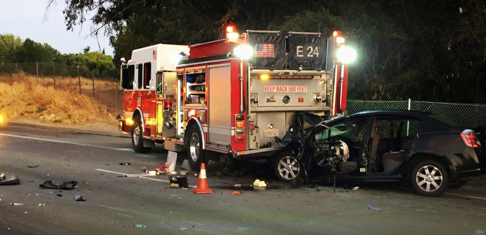 June 06, 2018 – Car plows into San Jose fire truck