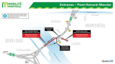 Entraves - Pont Honoré-Mercier (Groupe CNW/Ministère des Transports, de la Mobilité durable et de l'Électrification des transports)