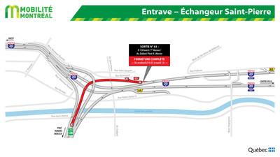 Entraves - Échangeur Saint-Pierre (Groupe CNW/Ministère des Transports, de la Mobilité durable et de l'Électrification des transports)