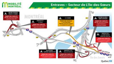 Entraves - Secteur de L'Île-des-Soeurs (Groupe CNW/Ministère des Transports, de la Mobilité durable et de l'Électrification des transports)
