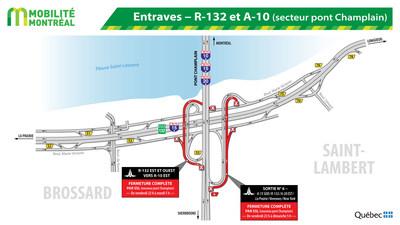 Entraves - R-132 et A-10 (secteur pont Champlain) (Groupe CNW/Ministère des Transports, de la Mobilité durable et de l'Électrification des transports)