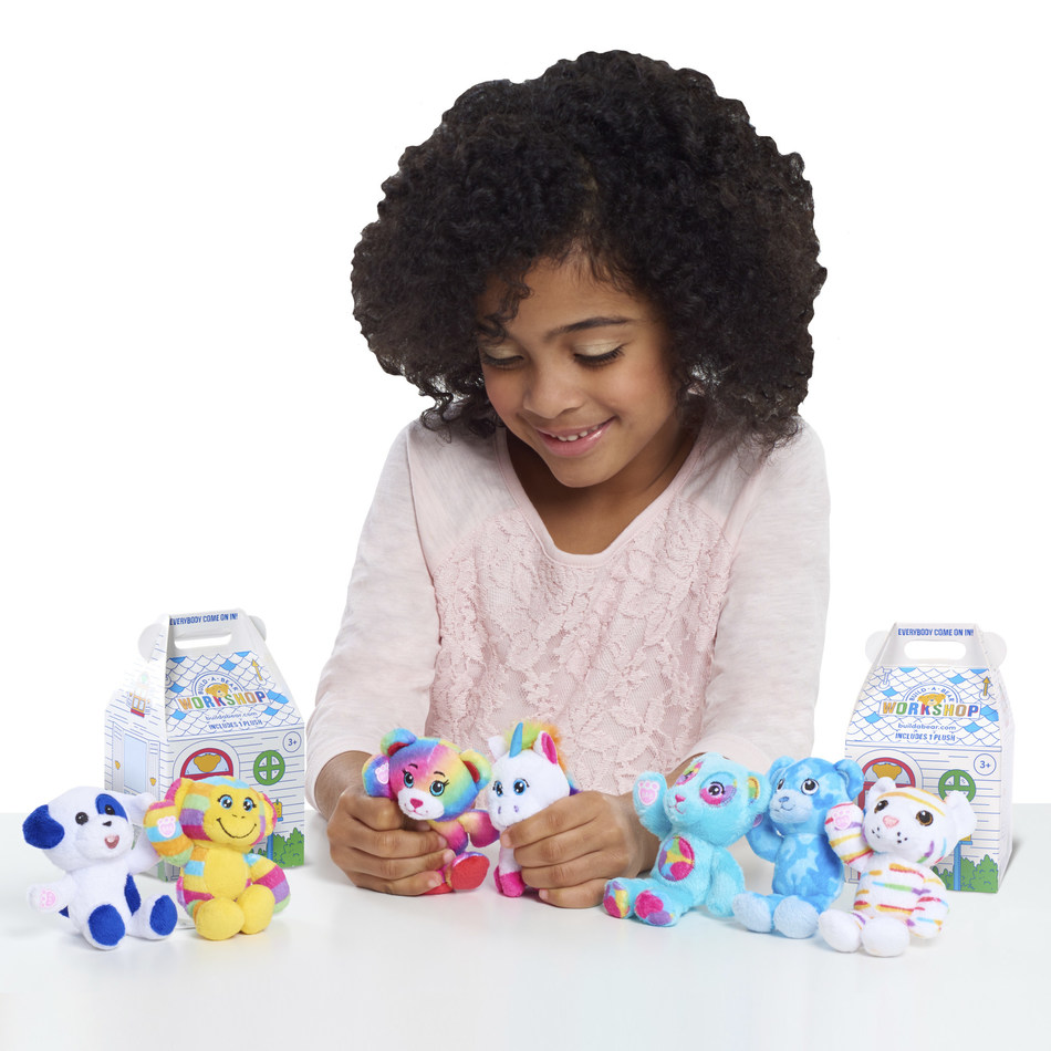 "The Just Play mini Build-A-Bear Workshop® plush blind-box collection is a series of 4"" plush characters featuring vibrant colors and patterns; each collectible comes with an iconic Build-A-Bear Cub Condo that kids can color and customize."