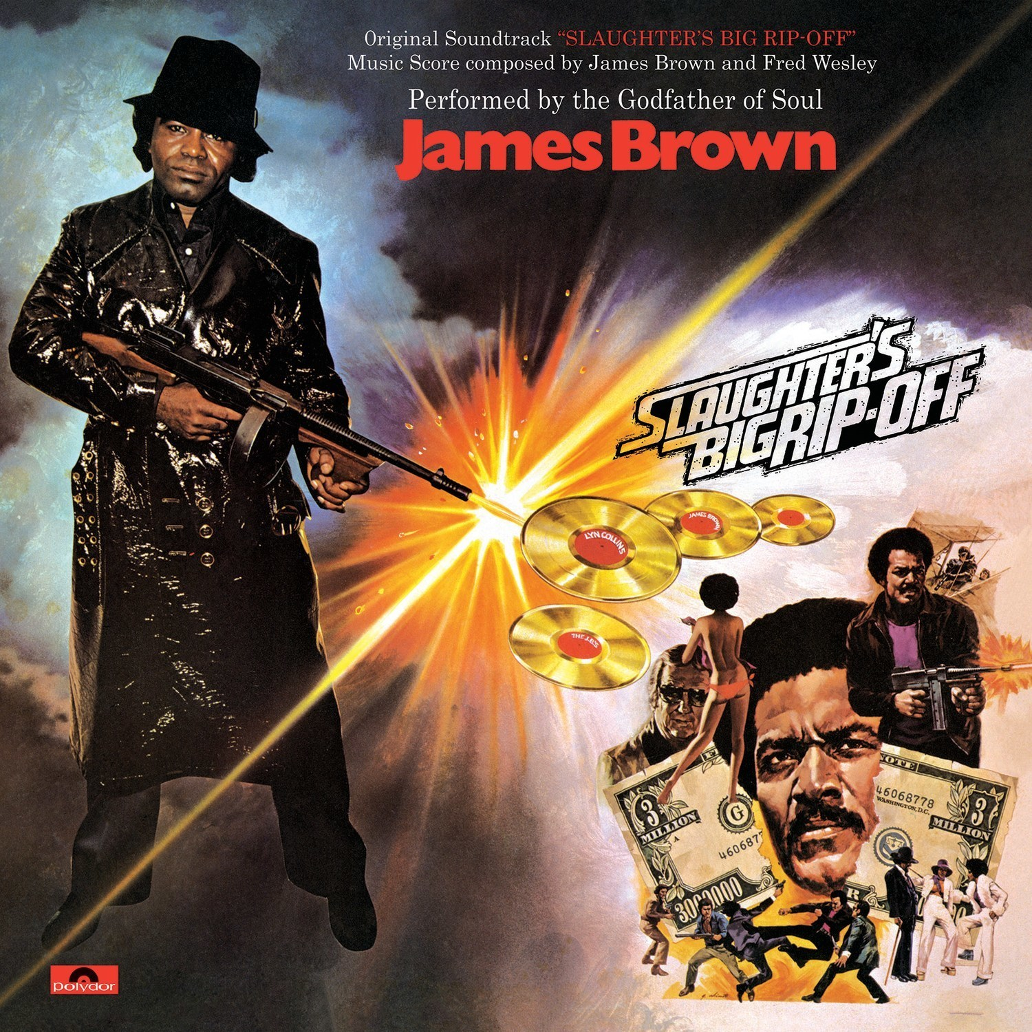 James Brown's original soundtrack albums for the 1973 blaxploitation film classics 'Black Caesar' and 'Slaughter's Big Rip-Off' are reissued today on 150-gram vinyl LPs by Polydor/UMe. Both albums are presented in tip-on jackets with faithfully replicated artwork, including 'Slaughter's Big Rip-Off''s gatefold. In addition, seven sought-after, James Brown-produced albums from members of his revue are now available for the first time for streaming and download purchase.