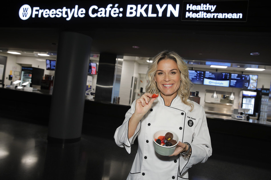 Celebrity Chef and newest WW Ambassador Cat Cora opens the WW Freestyle Café: BKLYN at Barclays Center on Thursday, October 4, 2018 in Brooklyn, New York. The WW Freestyle Café: BKLYN offers a diverse menu of WW Freestyle-inspired Mediterranean dishes (Andrew Kelly/AP Images for WW)