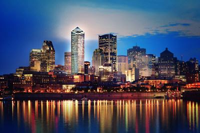 Un rendu 3D de la silhouette du centre-ville de Montréal avec Victoria sur le Parc (Groupe CNW/Broccolini)