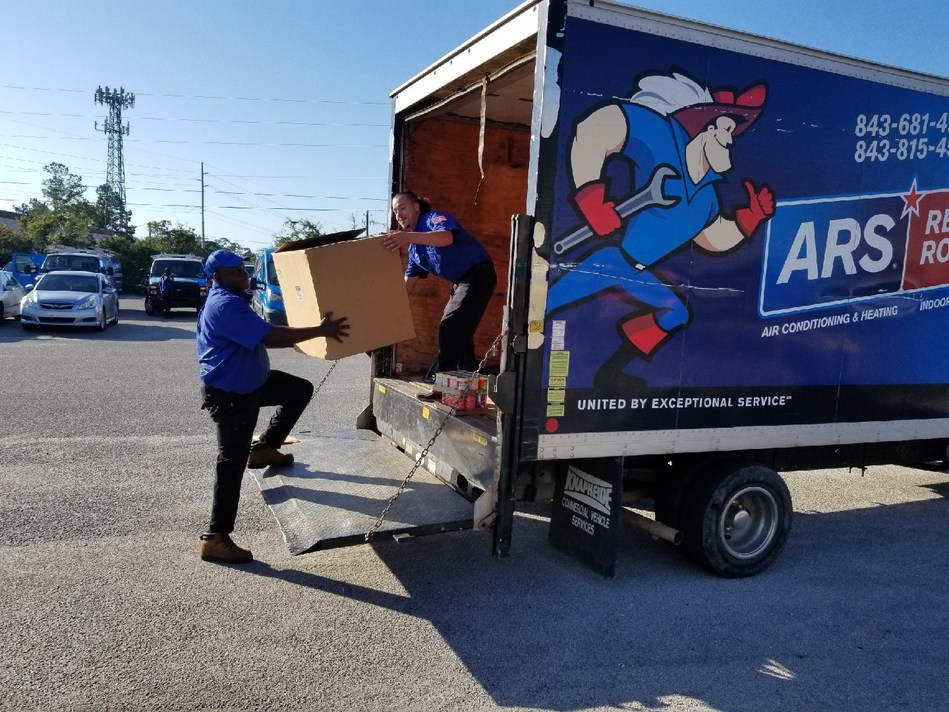 ARS/Rescue Rooter in Charleston Packing Their Trucks with Donations for Hurricane Florence Victims