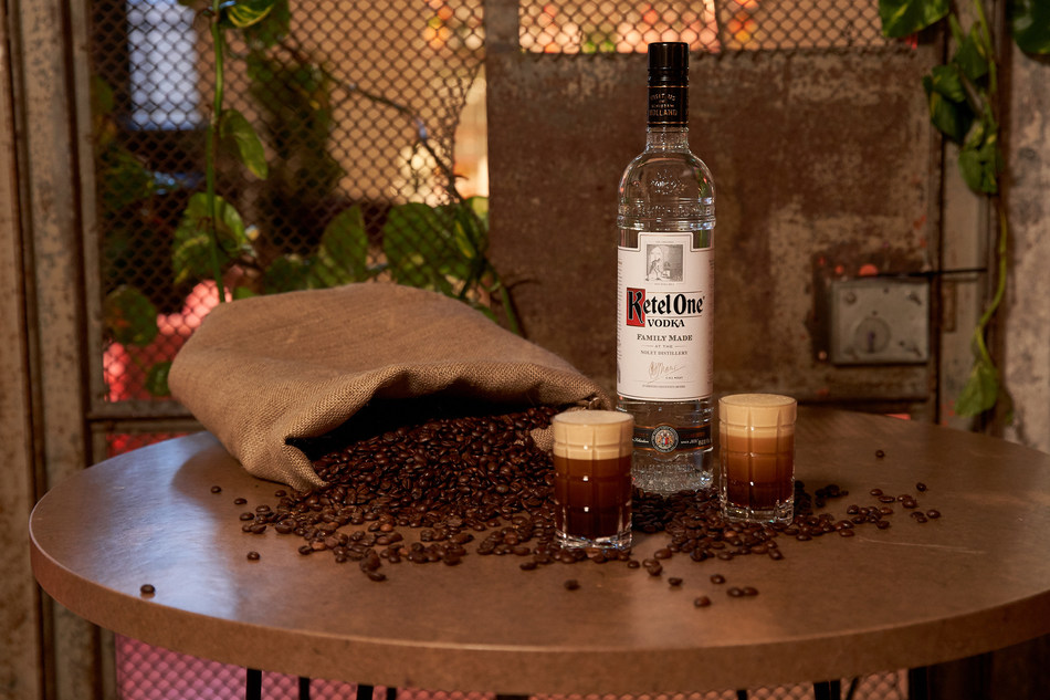 Nothing goes to waste when making the Ketel Espresso – even the sacks from the coffee beans are reused to make these table tops. (PRNewsfoto/Ketel One)