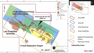 Figure 4: San Marcial – Regional Exploration Areas (CNW Group/Goldplay Exploration Ltd)