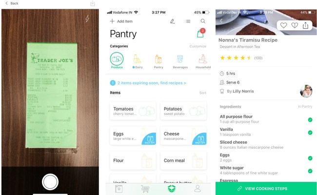The app serves up the best recipes users can make based on what they have in the kitchen, minimizing trips to the grocery store and using up ingredients while still at their peak freshness.