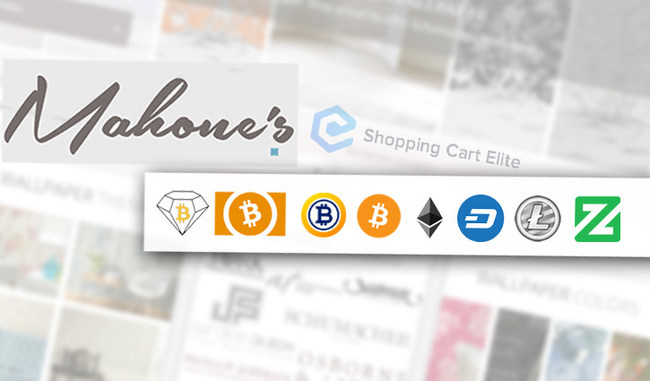 Mahone's Wallpaper Shop's online store will now be accepting payments in seven different cryptocurrencies, powered by Shopping Cart Elite.