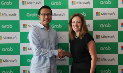 Ming Maa, president of Grab, Peggy Johnson, Executive Vice President of Business Development, Microsoft