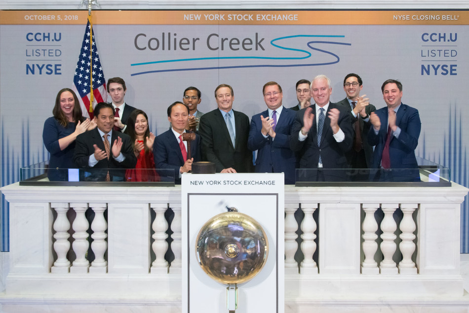 The founders of Collier Creek Holdings (NYSE: CCH.U), along with other members of CC Capital Management, rang the closing bell at The New York Stock Exchange on Friday, October 5, 2018. From left to right: Chinh E. Chu, Senior Managing Director and Founder of CC Capital, Roger K. Deromedi, Non-Executive Chairman of the Board of Directors of Pinnacle Foods, Inc. and former Chief Executive Officer of Kraft Foods, Inc., and Jason K. Giordano, Senior Managing Director of CC Capital. (Photo: NYSE)