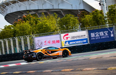 Contestant of China GT driving in the street in Wuhan