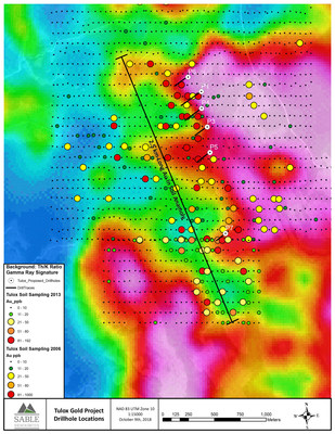 Tulox Gold Project Drillhole Locations (CNW Group/Sable Resources Ltd.)