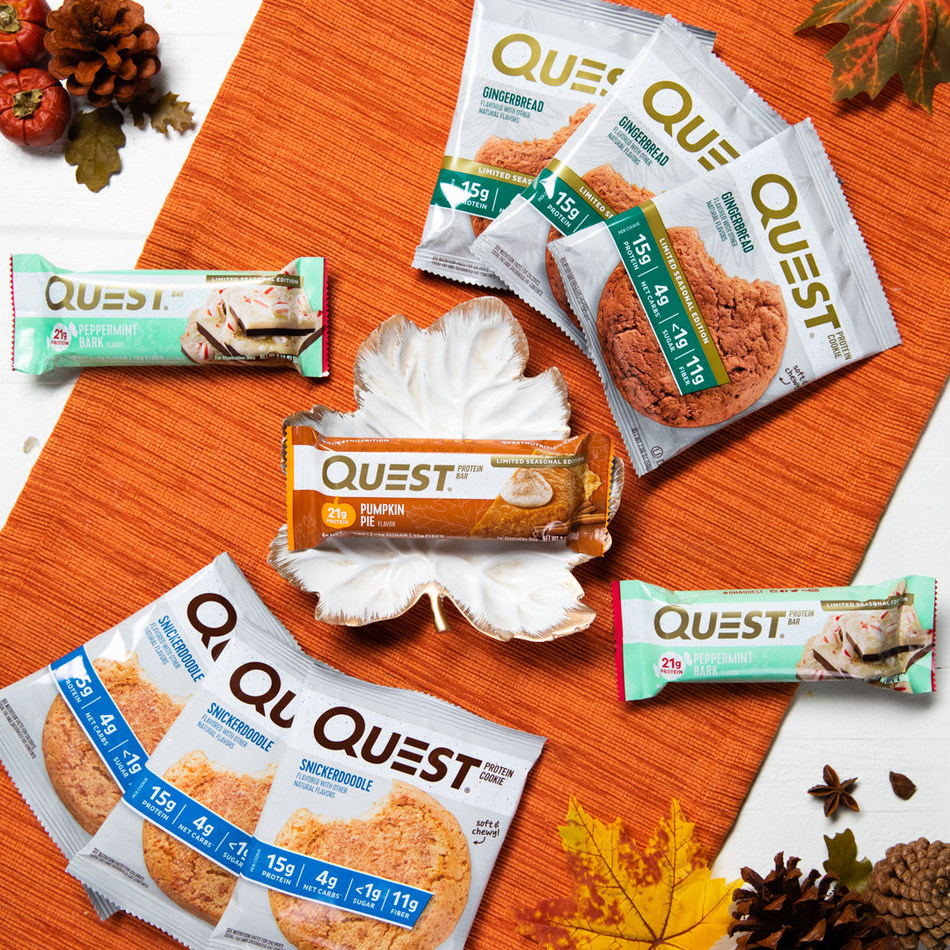 New products from Quest® include Pumpkin Pie Protein Bar, Peppermint Bark Protein Bar, Gingerbread Cookie and Snickerdoodle Cookie