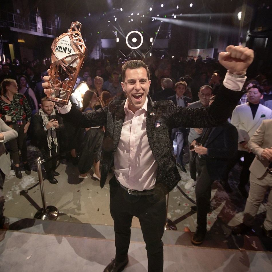 Orlando Marzo has been crowned the World Class Global Bartender of the Year 2018 in the eclectic capital of Berlin. Orlando from Melbourne, Australia held his nerve to emerge victorious after a nail-biting 'Cocktail Clash' Grand Finale in Berlin's iconic eWerk building. He will now travel the world as a Diageo representative and join a roll call of the industry's finest, becoming the 10th member of the WORLD CLASS Hall of Fame. (PRNewsfoto/WORLD CLASS)