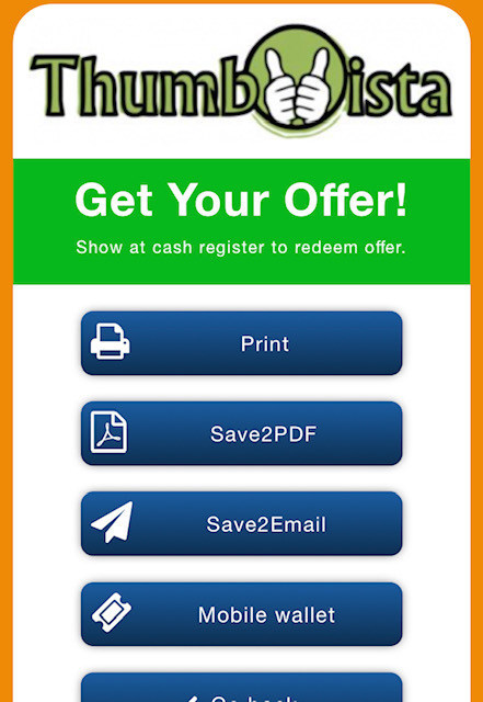 Save feature for Thumbvista's mobile coupon solution.