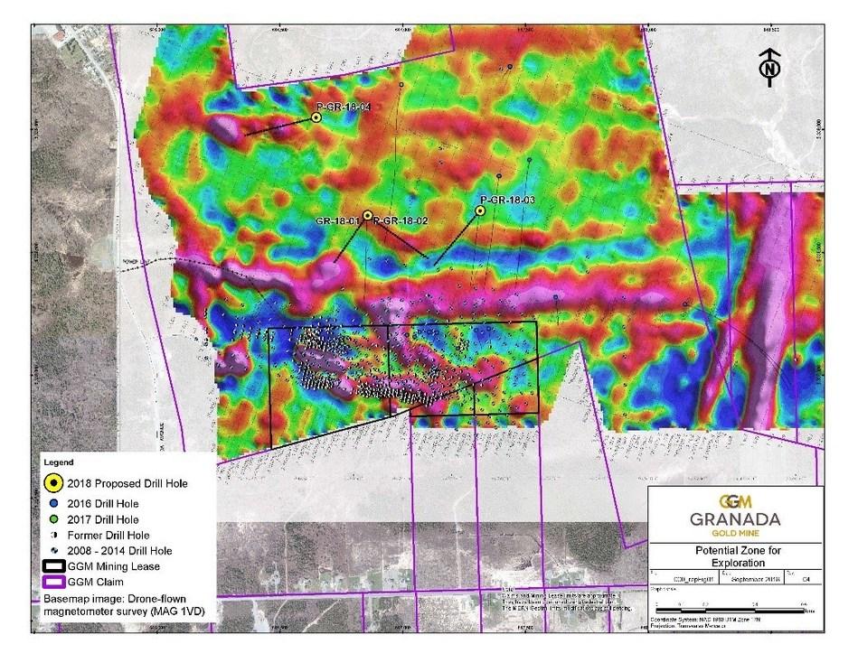 Figure 1: Location map of the drill program underlain by the Drone Airborne survey at Granada (CNW Group/Granada Gold Mine Inc.)