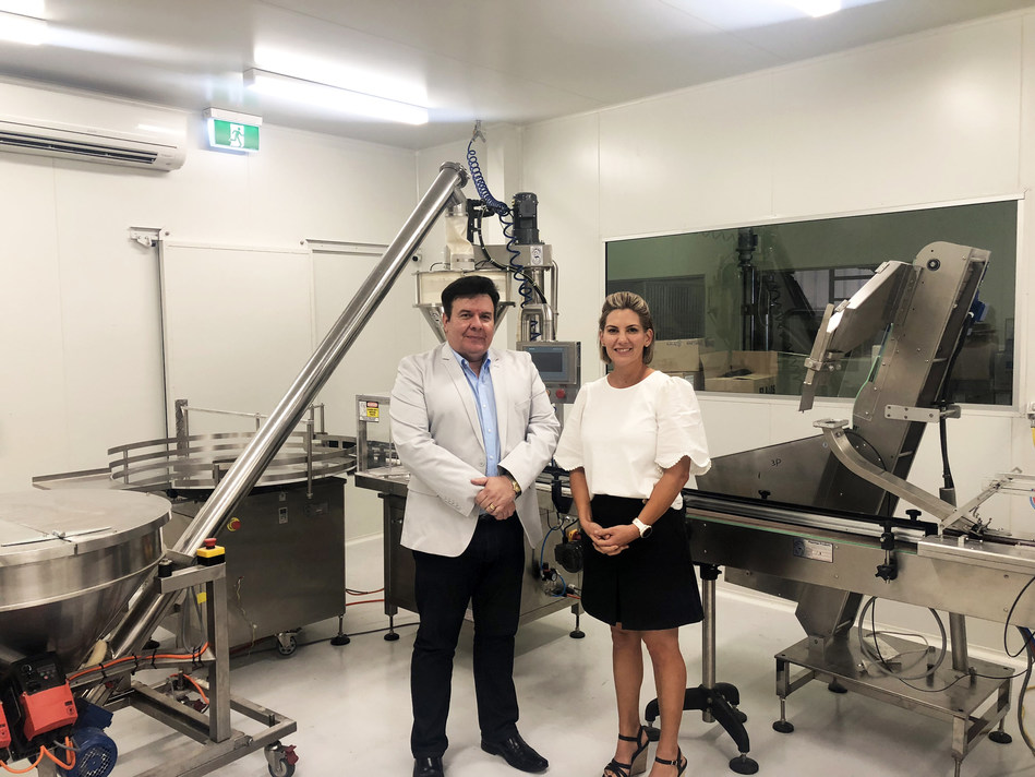 ATP Science Chief Operating Officer, Dr John Kapeleris and ATP Science Co-Founder Toni Doidge in the newly commissioned manufacturing facility in Brisbane, Australia.