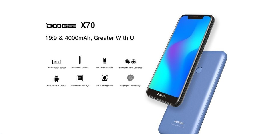 DOOGEE X70 U-shape notch big battery smartphone