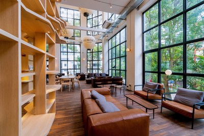 """Shu Fu reads as """"book"""" and also """"comfortable"""" in Mandarin. Sunlit and surrounded by floor to ceiling windows and lush greenery, it is perfect for reading or meeting with friends over an artisanal coffee at habitat's very own Hinoki café."""