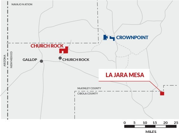 Figure 1: Laramide Resources Ltd. Projects in New Mexico, USA: Churchrock Uranium Project, Crownpoint Uranium Properties and La Jara Mesa Uranium Project. (CNW Group/Laramide Resources Ltd.)